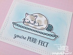 You're purr-fect AEcard blue detail (fridayfinally) Tags: cat mouse purrfect copic woolball distressink averyelle averyellestamps averyelledies
