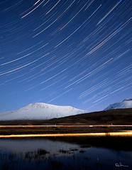 Celestial Spin, Rise of Orion - Star Trails and Car Trails (David Hannah) Tags: road winter light sky snow mountains cold reflection night canon reflections dark stars scotland highlands long exposure argyll trails highland shore orion after hunter loch peaks constellation startrails a82 tulla 40d welcomeuk