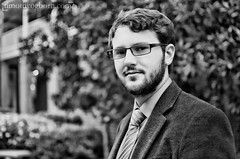 Brantley Ditto (Timothy Ogborn) Tags: bw white man black college beard glasses profile tie suit professor topaz prestige seminarian