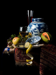 Still Life with Ginger Jar (after Willem Kalf) (kevsyd) Tags: stilllife lemon pear roemer gingerjar klapmuts willemkalf kevinbest pentax645d