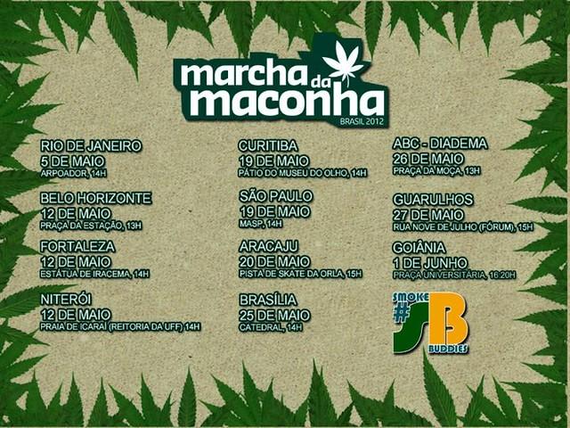 Marcha da Maconha - Calendário 2012