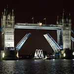 Olympic rings arrive under Tower Bridge 4am lift at night