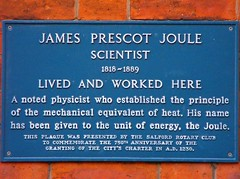 James Prescot Joule (oildrum1) Tags: city uk blue england heritage history plaque manchester energy fuji britain victorian science study finepix heat electricity fujifilm british temperature blueplaque salford current queenvictoria brewer resistance scientific physicist rotaryclub joule lordkelvin thermodynamics greatermanchester citycharter jamesprescotjoule jouleslaw openplaques:id=10057