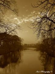 Pitville lake in sepia. (Scooby ...) Tags: light england sky sepia composition landscape interesting lowlight focus perfect creative sharp stunning optics infocus pitvillelake