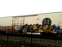 AMFM (+PR+) Tags: railroad graffiti trains railfan freight boxcars railcars graffitiart rxr reefers benching