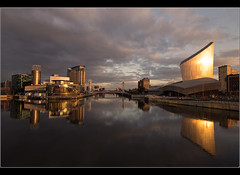 Black and gold...... (Chrisconphoto) Tags: water architecture reflections manchester imperialwarmuseum iwm