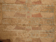 Painted ceiling decoration (HannahPethen) Tags: archaeology westbank egypt luxor egyptology medinethabu mortuarytemple ramssesiii wingedsundisk