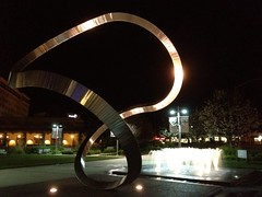 Infinity & Beyond (Brisan) Tags: california ca plaza light sculpture usa water fountain metal night shiny shine bright infinity reflective cupertino