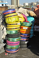 Multicolored tires. (XavierParis) Tags: nikon dubai uae tires xavier xavi hernandez pneus iberica reifen  neumaticos pneumtics  d700  xavierhernandez pneumatikoak  xyber75 xavierhernandeziberica