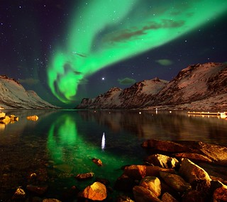 Northern lights reflections in Ersfjordbotn