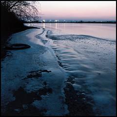 Frozen Zone (drabmolfr) Tags: winter sunset sky cold water colors landscape eau couleurs hiver ciel paysage froid coucherdesoleil poselongue