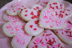 valentine cookies (saucy dragonfly) Tags: pink red cookies baking blog heart treats valentine sugar sprinkles saskatoon fancy valentinesday february14 bloggedyblogblog saucyssprinkles sashalibby