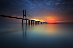 Imagine ... (CResende) Tags: bridge portugal sunrise river colorful warm lisbon joy imagine tejo seconds pvg attend parqueexpo cresende