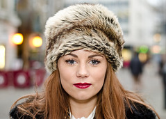Abbey (22/100) (drmaccon) Tags: beauty abbey nikon streetportrait redlips softbox brownhair furhat strangerportrait 100strangers sb700 d5100 drmaccon