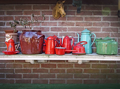 Enamel kettles collected by my father (VillaRhapsody) Tags: red holland green home netherlands collection kettle teapot coffeepot fathershouse challengeyouwinner