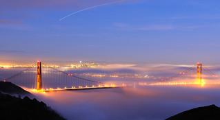 Golden Gate Bridge in fog, San Francisco