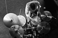 Drummer (preynolds) Tags: above blackandwhite musician mono livemusic drummer musicfestival westbromwich thepublic overheadshot tamron1750mm canon600d nowweare