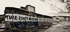 Time isn`t passing ... [Urban Explorer] (Skley) Tags: wedding blackandwhite panorama berlin history sepia photography photo foto fotografie stitch explorer creative picture commons cc berlinwall creativecommons bild licence mauer berlinermauer kreativ colorkey schwarzweis mauerweg