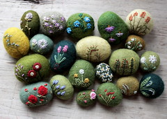 rock garden (lilfishstudios) Tags: flowers art wool rocks stones embroidery craft fiberart rockgarden embroidered lisajordan texturalstones springstones feltedwoolstone