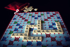 The Game of Life (Samantha Stock) Tags: life love hope sony dream sing scrabble laugh imagine picnik ourdailychallenge nex5 tilelockscrabble