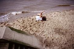 South Bank Summersaults 1 (fairminer) Tags: uk greatbritain london film water thames stairs analog 35mm river jump nikon waves kodak unitedkingdom steps bank southbank shore gb trick analogue parkour nikonfe2 englang ektar jumb parcour fe2 kodakektar100