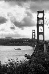 Vista Point (Leighton Wallis) Tags: sanfrancisco california birthday ca cruise blackandwhite bw usa tower bay boat ship unitedstatesofamerica goldengatebridge fortpoint suspensionbridge presidio sutrotower vistapoint 75thanniversary ggnpc11