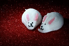 Bunny Peeps (Cindy's Here) Tags: red macro bunnies sparkles canon candy rabbits peeps 112