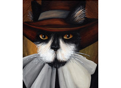 Pilgrim Goodman Cat (taraflyphotos) Tags: blackandwhite brown cat grey costume colonial gray tuxedocat puritan pilgrim settler orangeeyes catportrait catart catpainting catartist catinclothes tarafly