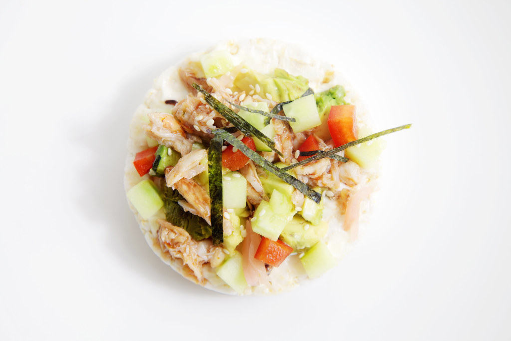 spicy california roll, on a rice cake!