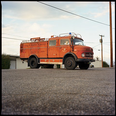 (Ansel Olson) Tags: sunset 6x6 mamiya tlr film truck vintage mediumformat print fire mercedes virginia kodak antique parking lot richmond va brewery northside medium format radish portra weeping metz rva 160 c330 80mmf28