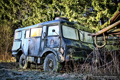 Military Junkyard (gemeiny) Tags: old green classic abandoned broken graveyard car forest vintage decay military creepy urbanexploration trucks junkyard rotten beautifuldecay