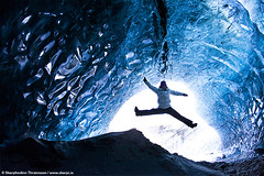 Ice-cave Jump around (skarpi - www.skarpi.is) Tags: trip blue winter ice girl landscape island iceland jump jumping melting tour extreme adventure caves workshop gateway cave sland noelia vetur vatnajkull jkull icecap s hellir hellar jklar skarpi