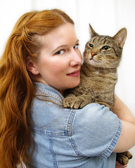 TaraFly and Merlin (taraflyphotos) Tags: portrait pet shirt female grey feline artist longhair kitty denim whitebackdrop redhair tabbycat catlover catartist tarafly