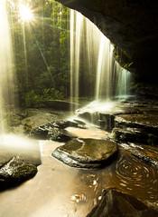 Pixies' veil (rubberducky_me) Tags: longexposure sun reflection water backlight canon reflections waterfall nationalpark bush rainforest australia wideangle nsw centralcoast superwideangle somersby somersbyfalls neutralfilter waterswirl 5dmarkii