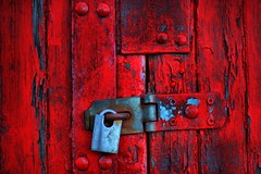Battered Old Bloody Red Door - Secure with Shiny Padlock (Magdalen Green Photography) Tags: wood old scotland scottish worn bloody hdr brightred 2979 iaingordon magdalengreenphotography batteredoldbloodyreddoor securewithshinypadlock