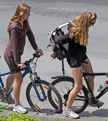 Daughter and Mother bicycling (InHerBoots) Tags: girls woman hot sexy feet girl sport fetish foot shoe women shoes toes toe sneakers sweaty sweat sneaker sporty beautifuly