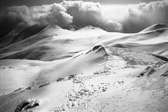 Looking south (threepinner) Tags: winter cloud snow japan diy hokkaido 28mm north summit   hq ricoh f28 microfilm hokkaidou selfdeveloped d23 rikenon  northernjapan kodal kamifurano  mttokachidake imagelink mountainsnaps  xr8super  diydeveolpment