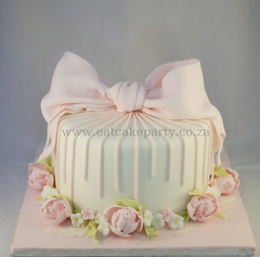 Peony Christening Cake (Dot Klerck....) Tags: flowers southafrica stripes capetown peony dot bow wellington christeningcakes eatcakeparty