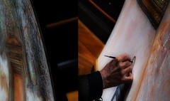 Painting at the Museum of Fine Arts Vienna - Gnter Fritsch im Kunsthistorischen Museum Wien (hedbavny) Tags: door art museum painting sketch artwork diptych artist hand candid kunst eingang workinprogress painter tor wald farbe veduta innenraum absperrung hades pers