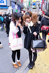 Shy Girls on Shibuya Center Street (tokyofashion) Tags: fashion japan hair japanese shibuya heels peacesign hairstyle 2012 centerstreet centergai streetsnap