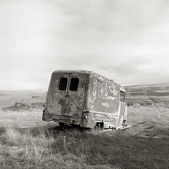 Van, Columbia River Gorge, Washington (austin granger) Tags: abandoned film oregon square time decay van wreck bluff columbiarivergorge yashicamat wishram austingranger