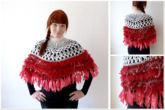 Inuit poncho (Joik design) Tags: red white wool coral clothing handmade lace crochet silk fringe etsy poncho joik norwegiansweater
