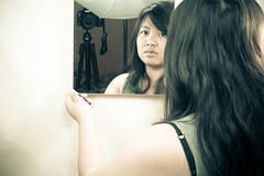 Mirror Picture! (SodanieChea) Tags: lighting light woman selfportrait art me french photography mirror vietnamese cambodian indian chinese creative eurasian spc artisitc asiangirl 28135mmf3556 365days canon5dmarkii