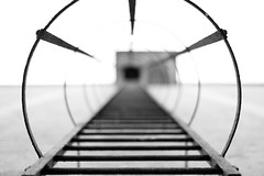 Ladder (Felix Schmidt Photography) Tags: light bw white black detail composition contrast canon photography eos 50mm focus raw photographer dof bokeh outdoor details perspective ladder 18 1000d
