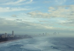 early morning fog (narelle*) Tags: ocean blue sea beach skyline coast horizon australia coastal queensland beaches burleigh