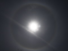 The Sun wore a Halo yesterday. (Annie in Beziers) Tags: sky sun france soleil halo ring aurora daytime vapourtrail sunflare nimbe aurole annieinbziers