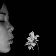 what should we do now (blueskyjunction photography) Tags: life portrait bw stilllife woman white black flower eye love girl face mouth petals still nikon eyelashes friendship affection profile lips relationship eyelash stalk d90