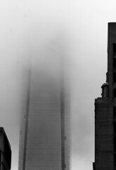 Head In The Clouds (phillytrax) Tags: city urban blackandwhite bw usa philadelphia monochrome fog clouds america skyscraper downtown unitedstates pennsylvania centercity pa highrise philly grayscale archstreet comcastcenter cityofbrotherlylove comcastbuilding comcasttower msity
