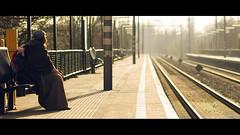 early morning (Lszl_F) Tags: woman cinema station train movie nikon waiting 85mm rails piglet nikkor cinematic 219 d300 85mmf18 knorretje 85mmf18af nikkor85mmf18af nikkor85mmf18 nikond300 zaandamkogerveld