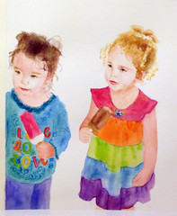 watercolor portrait of my nieces